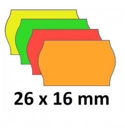 Kainų etiketės 26x16mm įvairių spalvų