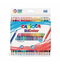 Spalvoti pieštukai Carioca BiColor 24/48 dvipusiai