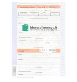 Kasos pajamų orderis A4 Nr.