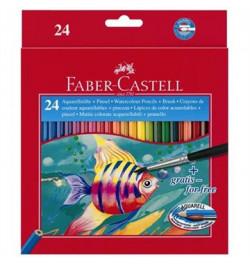 Akvareliniai pieštukai Faber-Castell 24sp su teptuku