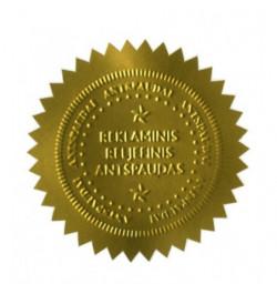 Reljefinio antspaudo lipdukas 51mm aukso sp