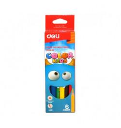 Spalvoti pieštukai Deli 00660 6sp stori