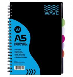 Sąsiuvinis Wave A5 su spirale ir skirtukais 120lp