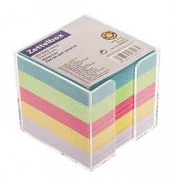 Užrašų lapeliai 90x90 su dėžute spalvoti