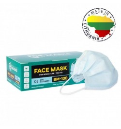 Vienkartinės apsauginės veido kaukės 50vnt 3sl.